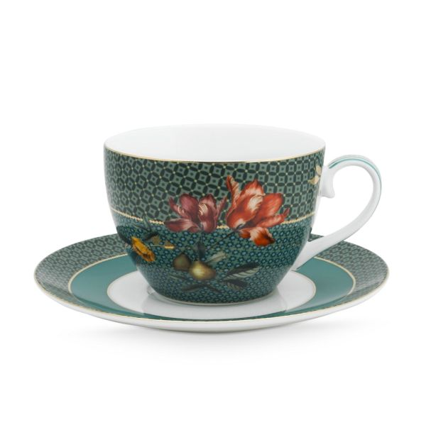 Set/2 Cups & Saucers Winter Wonderland Bird Green 280ml