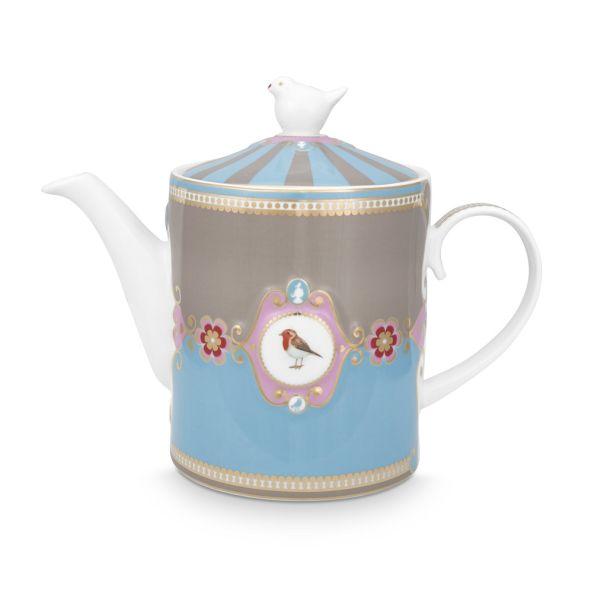 Love Birds Medallion Blue-Khaki 1.3ltr Teapot