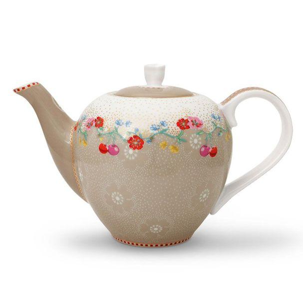 Pip Studio Tea Pot Small Cherry Khaki Floral 2.0