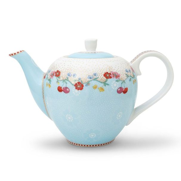 Pip Studio Tea Pot Small Cherry Blue Floral 2.0