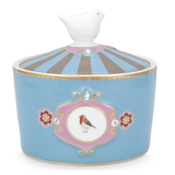Love Birds Medallion Blue-Khaki Sugar Bowl
