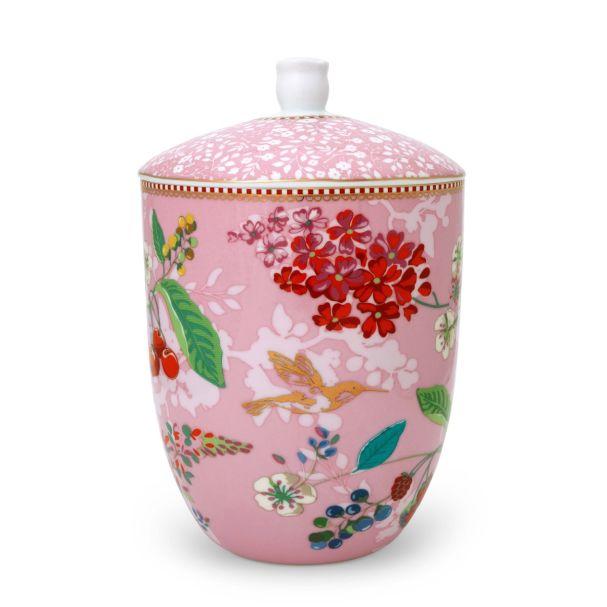 Pip Studio Storage Jar Hummingbirds Pink Floral 2.0