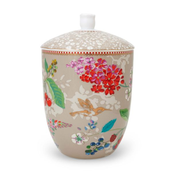 Pip Studio Storage Jar Hummingbirds Khaki Floral 2.0