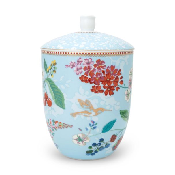 Pip Studio Storage Jar Hummingbirds Blue Floral 2.0 (