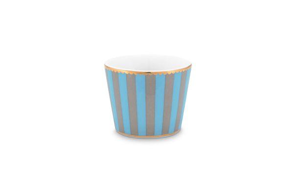Love Birds Stripes Blue-Khaki Egg Cup