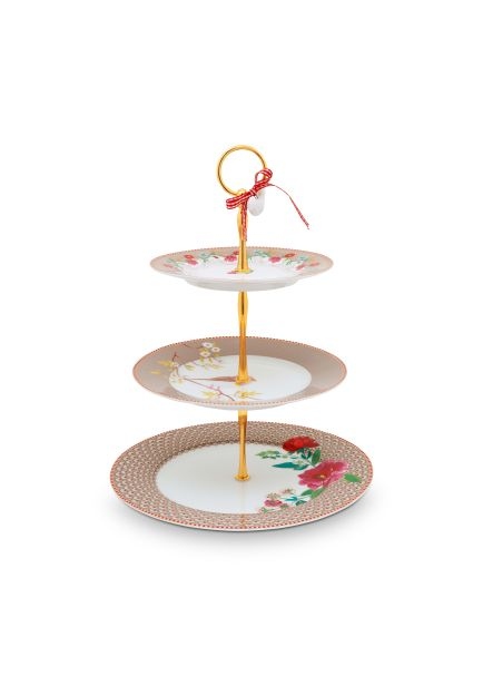 Pip Studio Cake Stand 3/layers Floral Khaki Floral 2.0