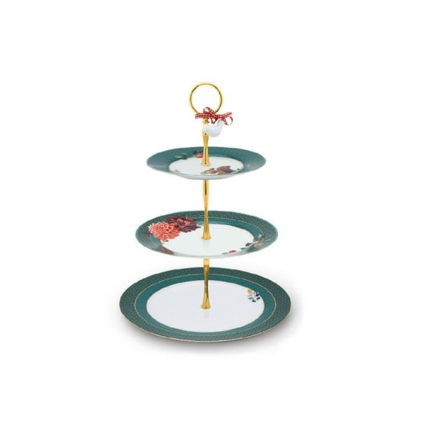 Cake Stand 3/Layers Winter Wonderland Green 17-21-26.5cm