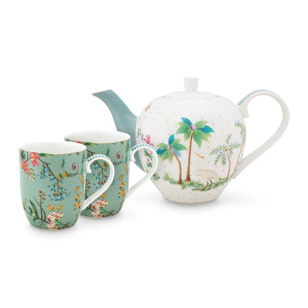 Set/3 Pip Studio Jolie Flowers Blue Tea Set Small