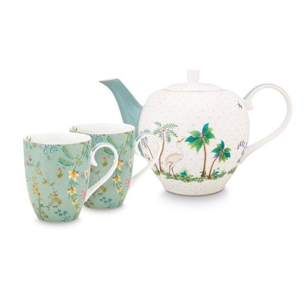 Set/3 Pio Studio Jolie Flowers Blue Large Tea Set