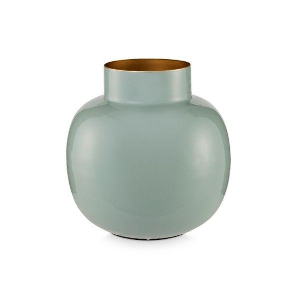 Light Blue Round 25cm Metal Vase