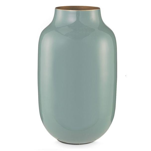 Dark Blue 30cm Oval Metal Vase