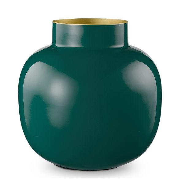 Vase Metal Round Dark Green 25cm