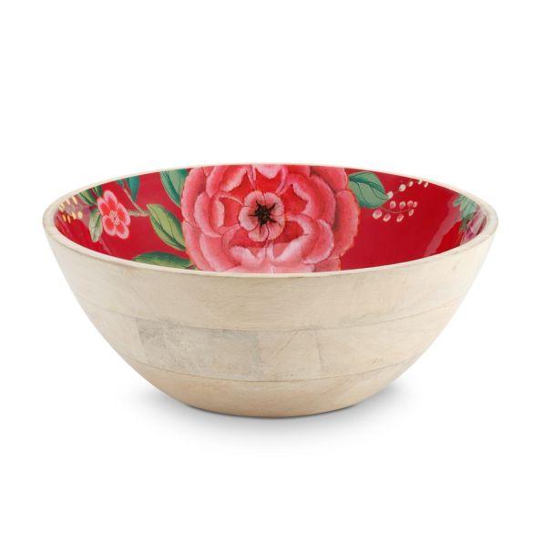 Pip Studio Red 32cm Enamelled Wooden Bowl