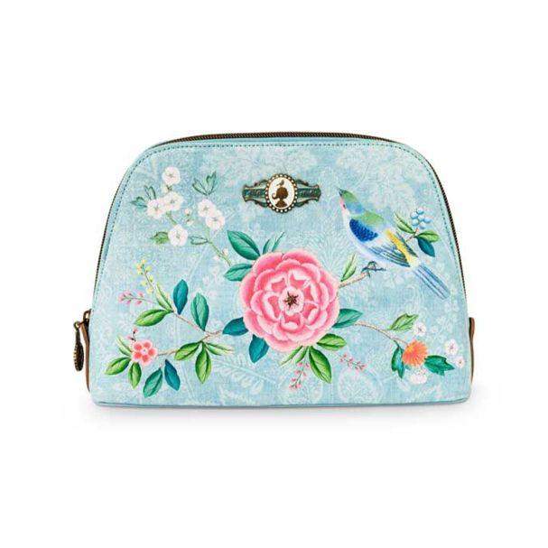 Good Morning Cosmetic Bag Triangle Medium Floral Blue