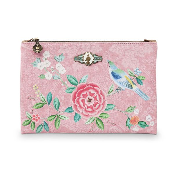 Cosmetic Flat Pouch Medium Floral Pink