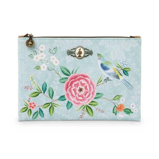 Cosmetic Flat Pouch Medium Floral Blue