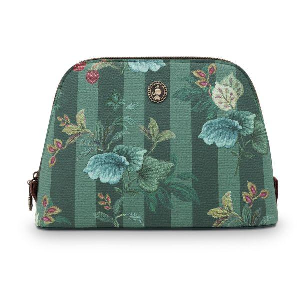 Cosmetic Bag Triangle Medium Leafy Stitch Green 24/17x16.5x8cm