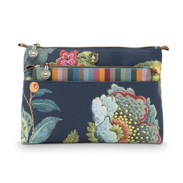 Cosmetic Bag Combi Poppy Stich Blue 26x18x7.5cm/22x13x1cm