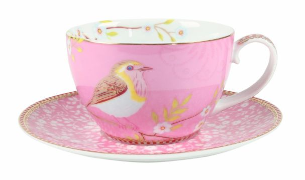 PiP Studio Cappucino Cup & Saucer Early Bird Pink