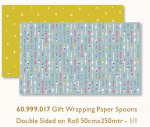 Promotional Gift Wrapping Paper Spoons Double Sided on Roll