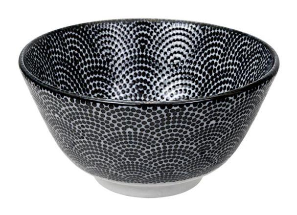 Tokyo Design Nippon Black Rice Bowl 12x6.4cm Dots