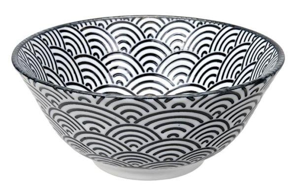 Tokyo Design Nippon Black Tayo Bowl 15.2x6.7cm Wave