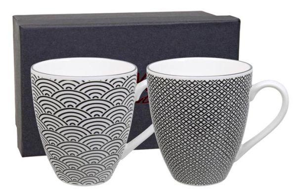 Tokyo Design Nippon Black Mug Set 2Pcs 8.7x9.8cm Wave & Squares