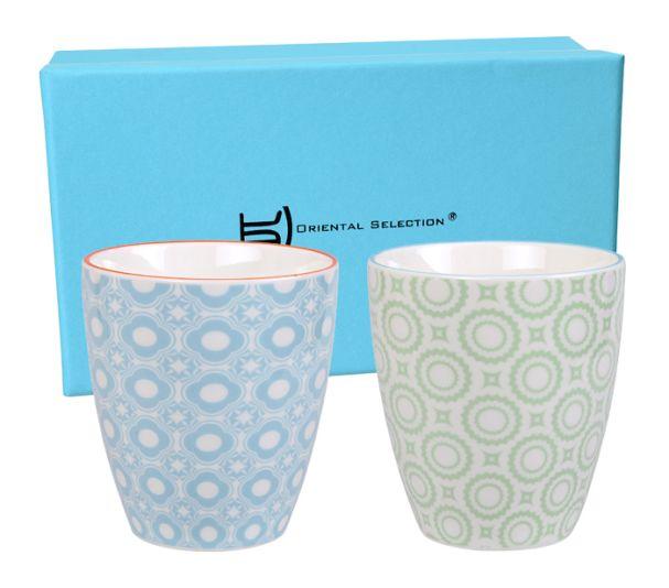 Tokyo Design Colored Cup Set 2Pcs Green/Blue 8.2x7.5cm