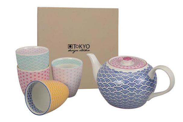 Tokyo Design Star Wave Tea Set 1:4 1.2L Blue