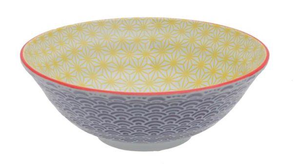 Tokyo Design Star Wave Noodle Bowl 21x7.8cm Yellow/Purple