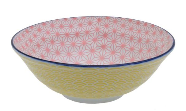 Tokyo Design Star Wave Noodle Bowl 21x7.8cm Pink/Yellow