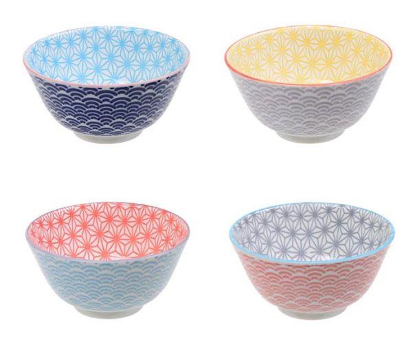 Tokyo Design Star Wave Rice Bowl Set Of 4 12x6cm