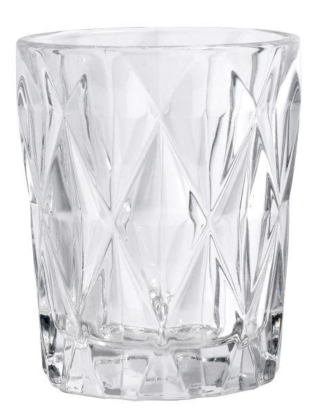 DIAMOND drinking glass, S, clear
