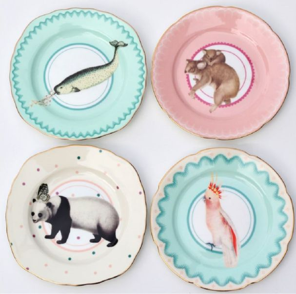 Yvonne Ellen Set/4 Animal Cake plates 16cm Multi