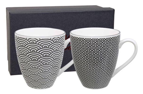 Nippon Black Mug Set 2pcs 87x98cm Wave & Squares/NBKMS-1 1