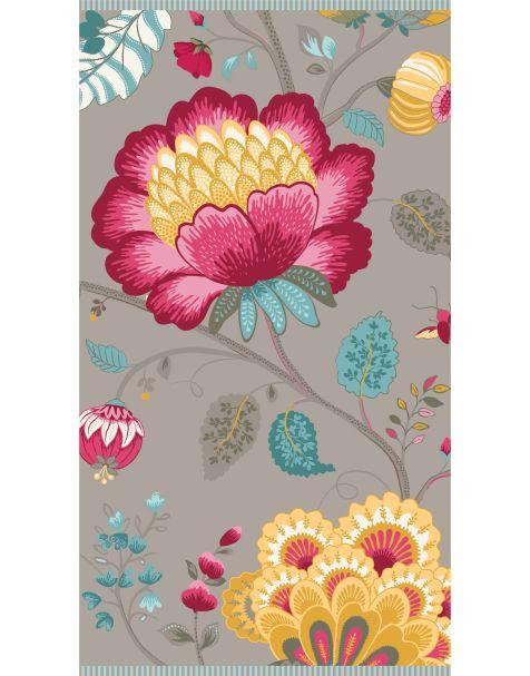 Floral Fantasy Khaki Hand Towel