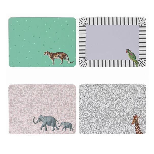 Yvonne Ellen Set of 4 Mixed Animal Placemats