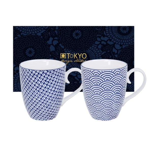Nippon Blue Mug Set 2pcs 8.5x10.2cm 380ml Wave & Raindrop