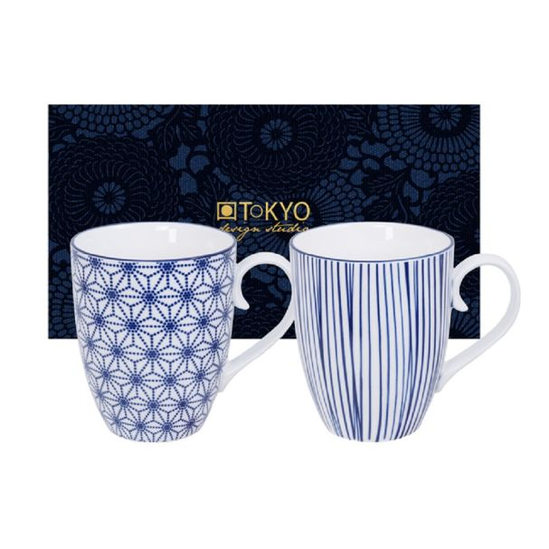 Nippon Blue Mug Set 2pcs 8.5x10.2cm 380ml Star & Lines