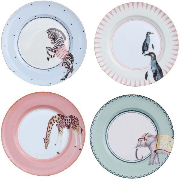 Yvonne Ellen Set/4 Carnival Animal Dinner Plates