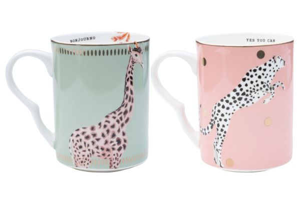 Yvonne Ellen Set/2 Mugs Cheetah/Giraffe