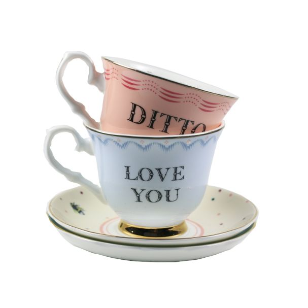 Yvonne Ellen Set/2 Cup & Saucer Love You/Ditto