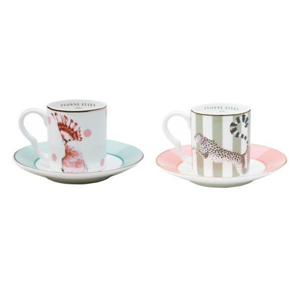 Yvonne Ellen Set/2 Espresso Cup & Saucers Cheetah/Parrot