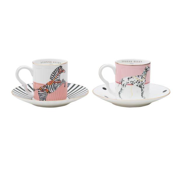 Yvonne Ellen Set/2 Espresso Cup & Saucers Dog/Zebra
