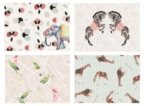 Yvonne Ellen Set of 4 Carnival Animal Placemats