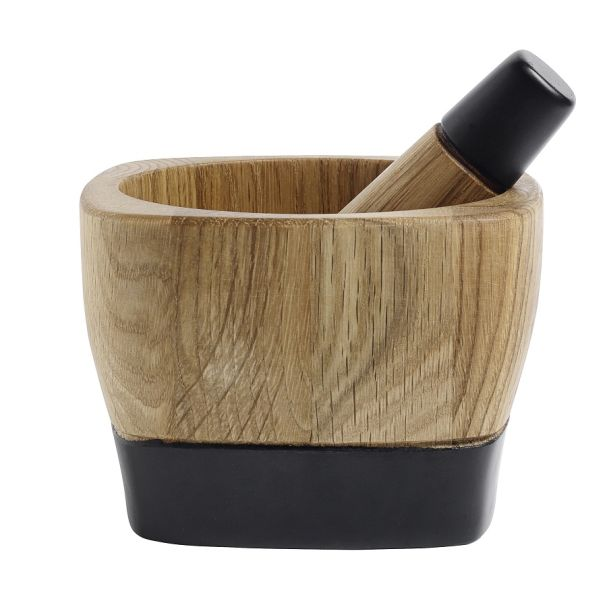 Oak mortar & pestle, black