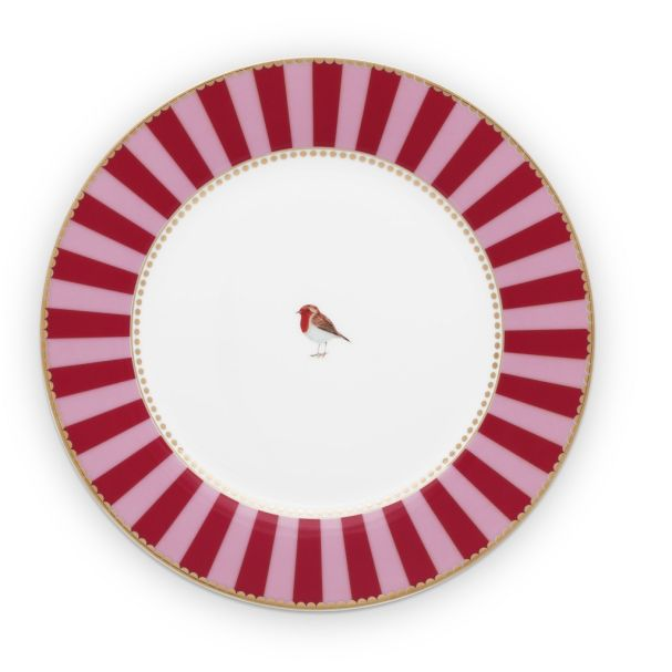 Love Birds Stripes Red-Pink 21cm Plate