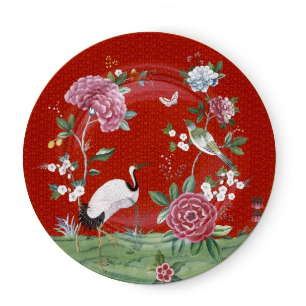 Plate Blushing Birds Red 32cm