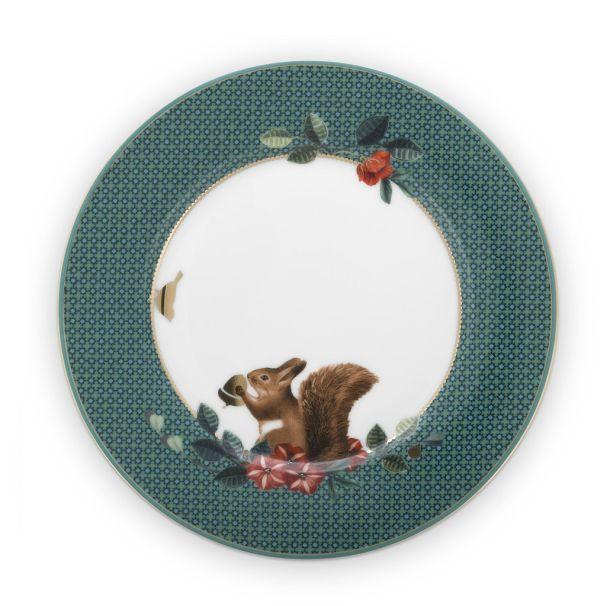 Plate Winter Wonderland Squirrel Green 17cm