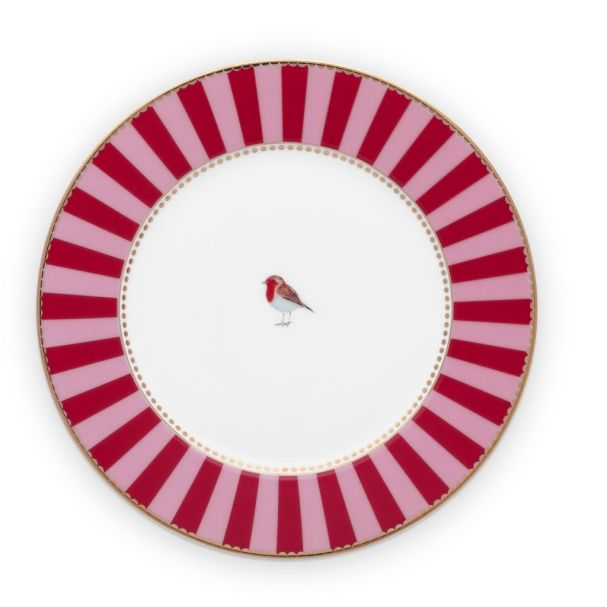Love Birds Stripes Red-Pink 17cm Plate